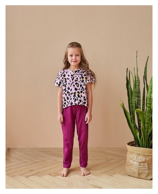 Футболка для девочки Minaku Леопард, рост 146 см, цвет розовый леопард Minaku