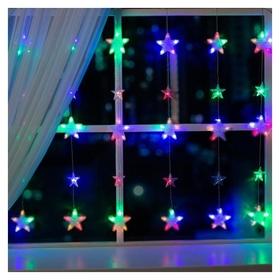 """Гирлянда """"Бахрома""""2.4 х 0.9 м с насадками""""звёздочки"""", Ip20, прозрачная нить, 186 Led, свечение мульти, 8 режимов, 220 В  LuazON"""