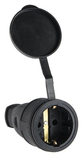 Розетка переносная 16-005, 16 А, 250 В, Ip44, с з/к, с заглушкой, каучук, черная  ВЭТП Свет