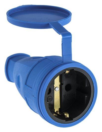 Розетка переносная 16-005, 16 А, 250 В, Ip44, с з/к, с заглушкой, каучук, синяя  ВЭТП Свет