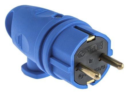 Вилка переносная угловая с кольцом в16-002, 16 А, 250 В, Ip44, с з/к, каучук, синяя  ВЭТП Свет