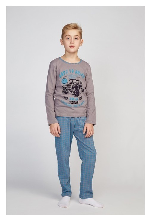 Пижама для мальчика, серый/клетка, рост 140-146 см  N.O.A
