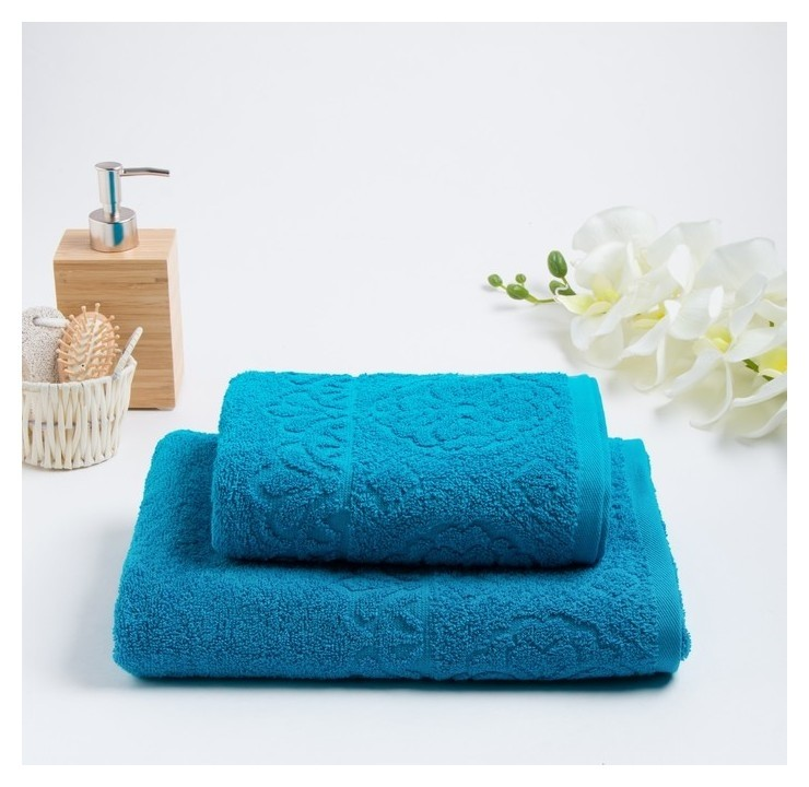 Комлпект махровых полотенец «Asterya» 50х90, 70х130 см, цвет бирюзовый Fiesta