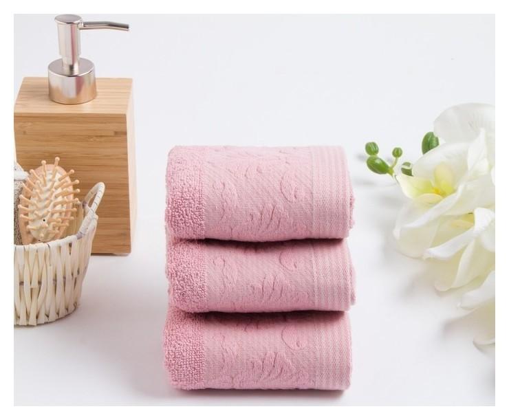 Комплект махровых полотенец в коробке Venezia, 30х50 см - 3 шт, цвет пудра Fiesta