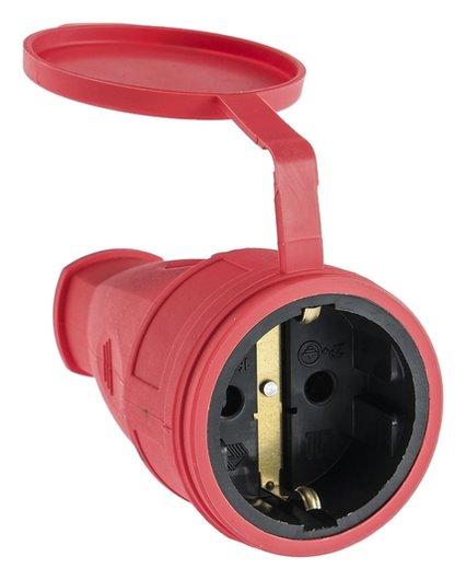 Розетка переносная 16-005, 16 А, 250 В, Ip44, с з/к, с заглушкой, каучук, красная ВЭТП Свет