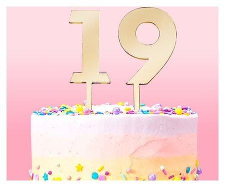 Набор топперов на торт «Цифры», 10 шт, 8×3 см, цвет золото  Доляна