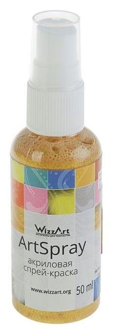 Спрей-краска Metallic, 50 мл, Wizzart Spray, золото мерцающее  WizzArt