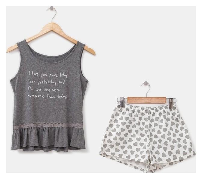 Комплект женский (Топ, шорты) «Кокетка», цвет серый, размер 44 NNB
