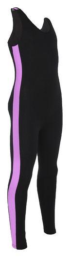 Комбинезон гимнастический с лампасами, цвет чёрный/фиолетовый, размер 38  Grace dance