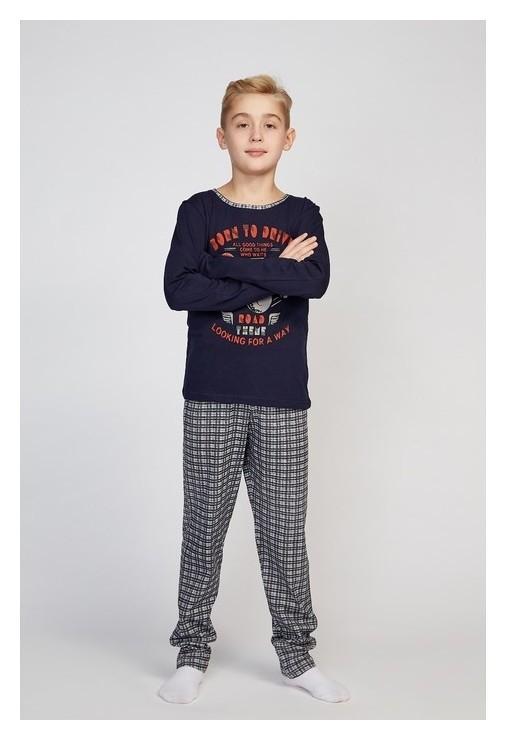 Пижама для мальчиков, тёмно-синий/клетка, рост 128-134 см  N.O.A