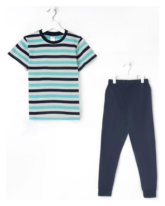 Пижама для мальчика, цвет зелёный/полоска, рост 122-128 см  N.O.A