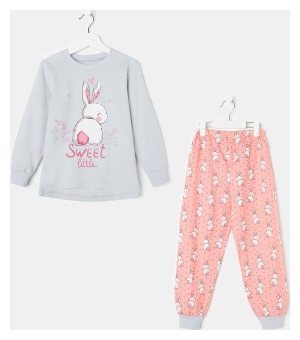 Пижама для девочки, цвет светло-серый/персиковый, рост 86 см (52) Luneva