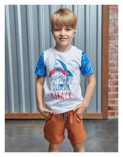 "Футболка для мальчика Kaftan ""Surf"" акула, р.34 (122-128 см), белый  Kaftan"