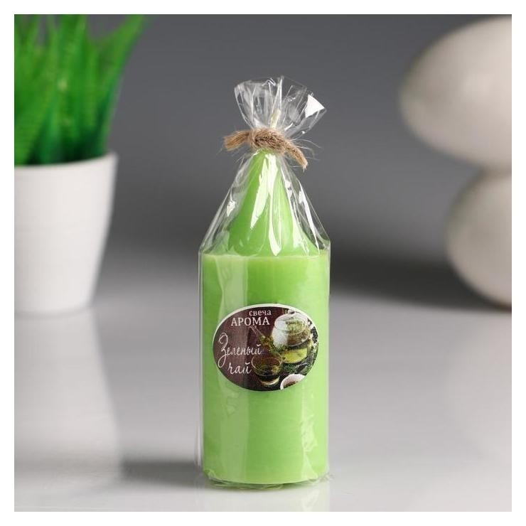 """Свеча- цилиндр """"Зелёный чай"""" ароматическая, 4×10 см  NNB"""