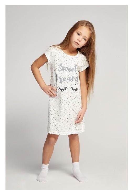 Сорочка ночная для девочки, цвет белый/звёздочки, рост 116 см  Slavtex