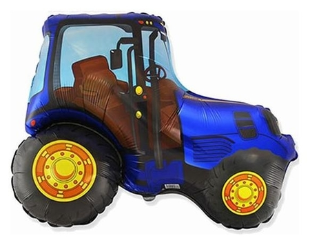 """Шар фольгированный 30"""" «Трактор синий», фигура  Flexmetal"""