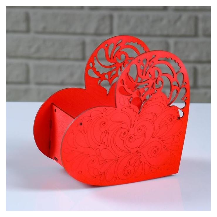 """Кашпо деревянное """"Сердце ажурное"""", красный, 18×8.6×14 см  NNB"""