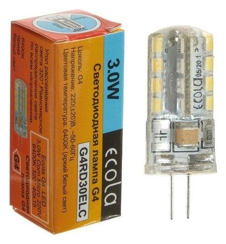Лампа светодиодная Ecola Corn Micro, G4, 3 Вт, 6400 К, 320°, 220 В, 40х15 мм  Ecola