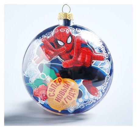 """Новогодний ёлочный шар """"С новым годом"""" человек-паук с 3D аппликацией  Marvel"""