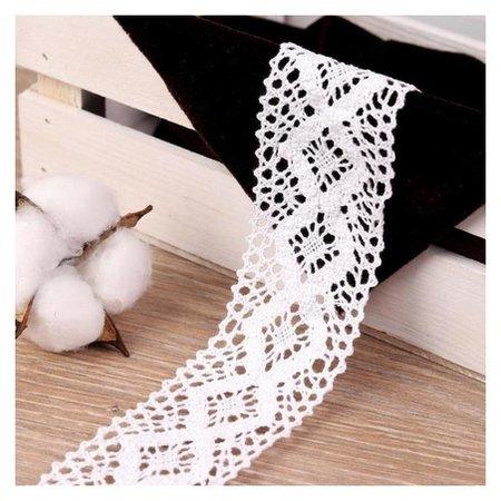 Кружево вязаное, 50 мм × 10 ± 1 м, цвет кипенно-белый  Арт узор