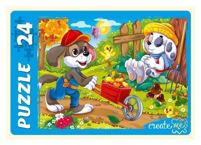 Макси-пазлы 24 элемента «Забавные щенки»  Рыжий кот