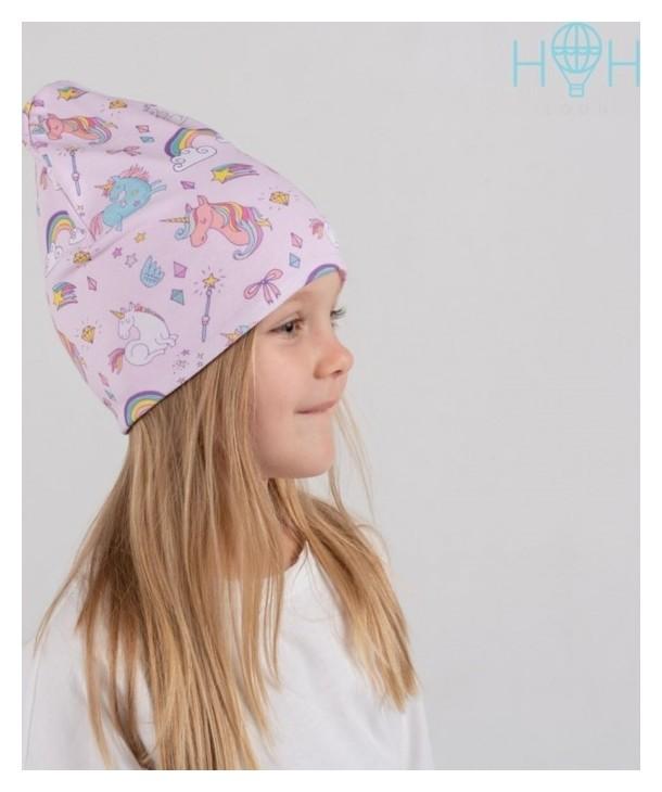 Шапка для девочки, цвет розовый/единороги, размер 54-58  Hoh loon