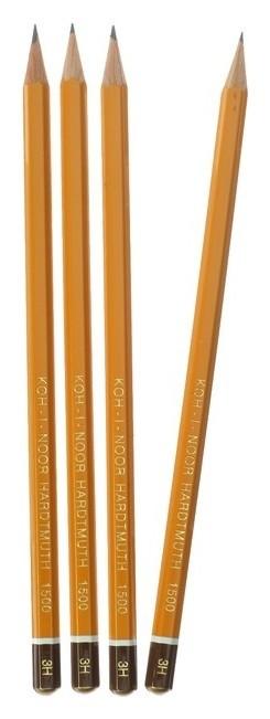 Набор 4шт карандаш ч/г K-i-n проф 1500 H 3, заточен. 150003h01170ru (786596)  Koh-i-noor