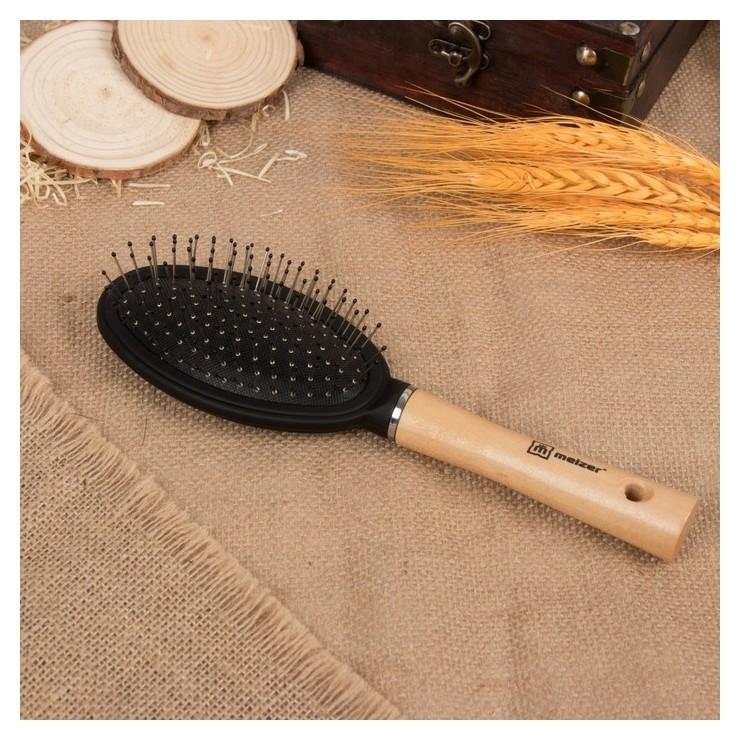 Расчёска массажная с деревянной ручкой, цвет светлое дерево  Meizer