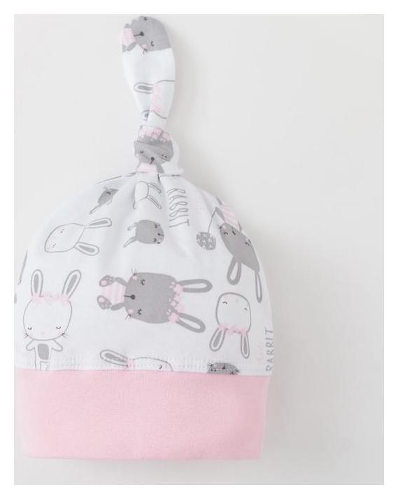 Шапочка для девочки, цвет белый/розовый, размер 48  Веснушка