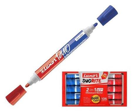 "Маркер для доски двухсторонний 1-3мм Luxor ""Duorite"" синий/красный 1958 (Bl&rd)  Luxor"
