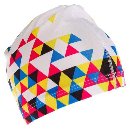 Шапочка для плавания, взрослая Ol-024, текстиль, мозаика, цвет белый  Onlitop