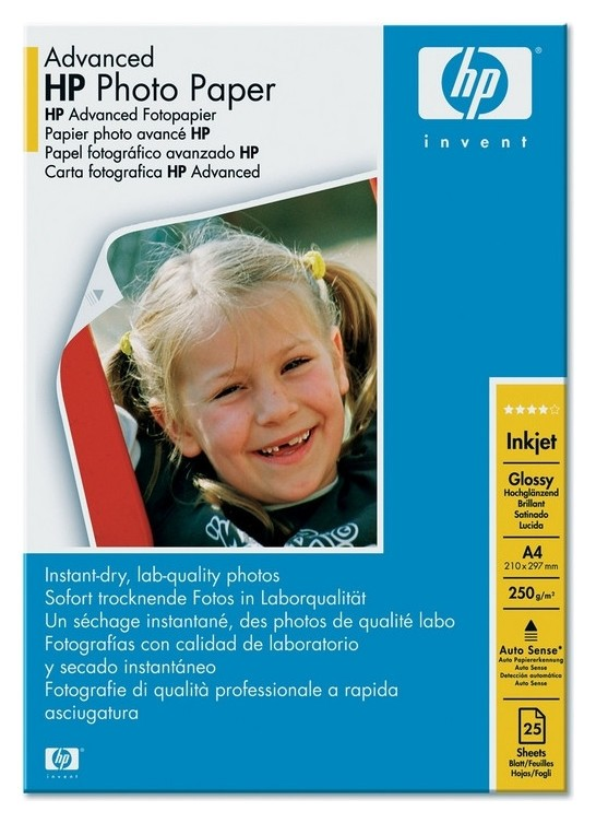 Бумага для цв.струй.печ. HP Q5456a (А4, 250г, Photo, глянц., пачка 25л)  Hp