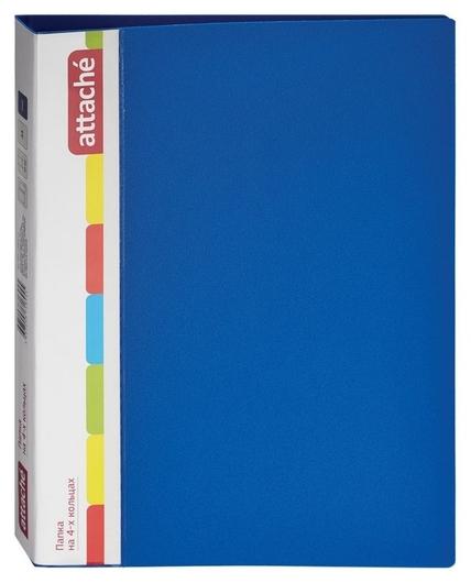 Папка на 4-х кольцах пласт. 17/32мм А4 Attache F504/07 синяя Ро  Attache