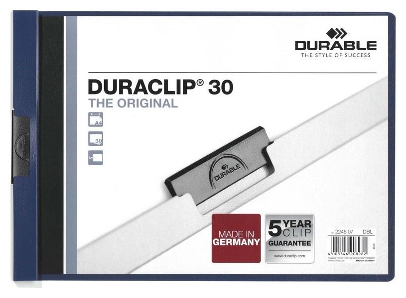 Папка с клипом Durable 2246-06/07, гориз. А4 30 листов, синя  Durable