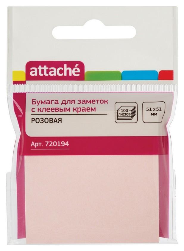 Блок-кубик Attache с клеев.краем 51х51 розовый 100л.  Attache