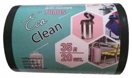 Мешки для мусора ПВД 35л 25мкм 20шт/рул черные 40x70см Ecoсlean  Концепция быта