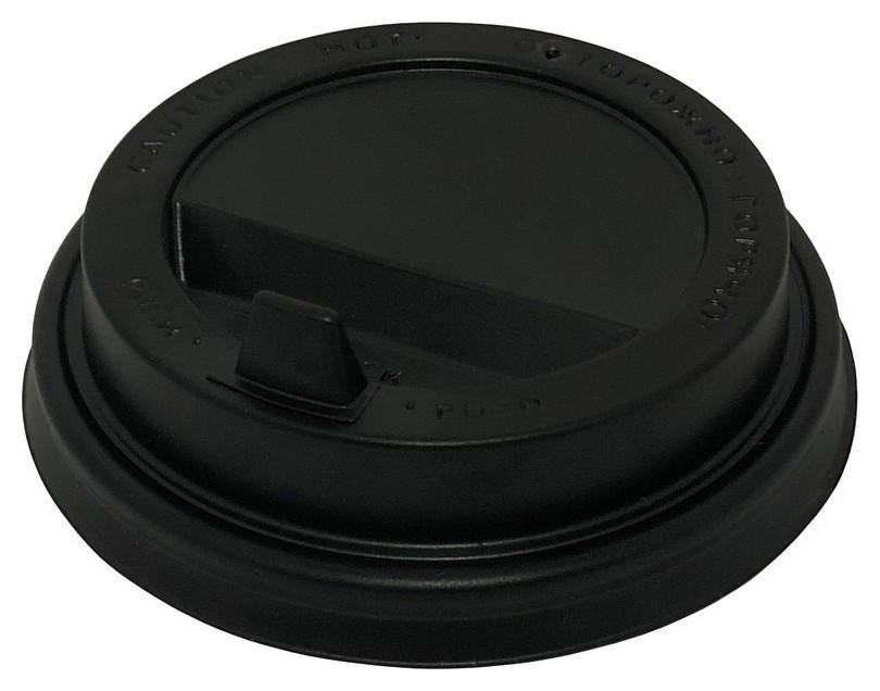 Крышка для стакана D=80мм с клапаном, черная, комус 100шт/уп  Комус