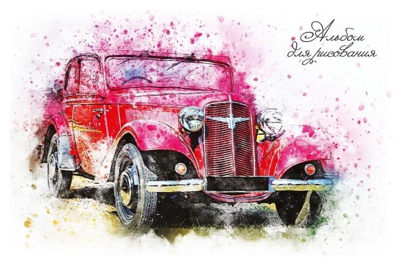 Альбом для рисования А4 20л,склейка,обл.карт. авто 9604/2 в ассорт  Academy Style