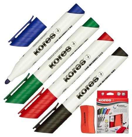 Набор маркеров для досок Kores с губкой 3мм 4шт/уп 20863  Kores