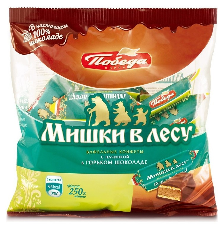 Конфеты мишки в лесу вафельные,250гр  Победа вкуса