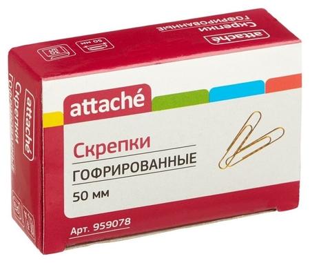 Скрепки Attache, 50 мм, гофрированные золотистые 30 шт.в карт.уп  Attache