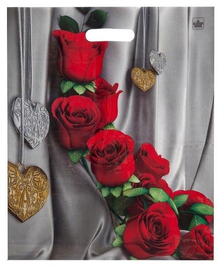 Пакет с вырубной ручкой цветы страсти 45х38см 50шт/уп  NNB