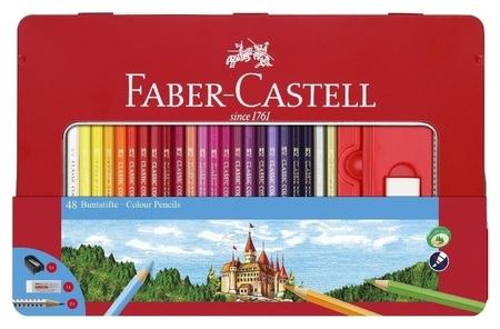 Карандаши цветные Faber-castell, 48цв.+4, с ластиком, точилкой, 115888  Faber-castell