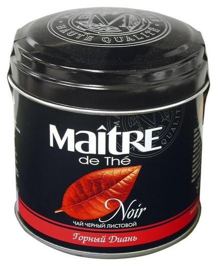 Чай Maitre горный диань круп.листовой черн.100г ж/б  Maitre