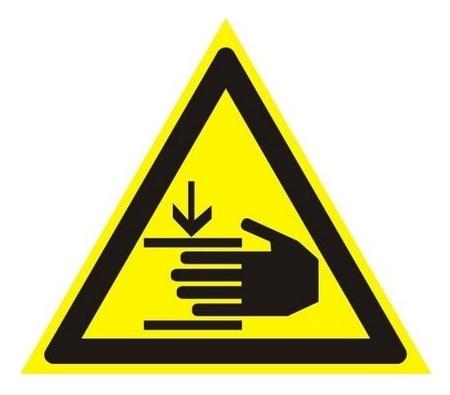 Знак безопасности W27 осторожно! возможно травмир-е рук(Плёнка,200х200)  Технотерра