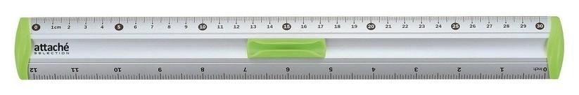 Линейка 30см Attache Selection Aluminium с держателем зеленый  Attache