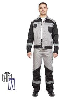Спец.одежда летняя костюм мужской л21-кбр серый/черн.(Р.60-62) 182-188