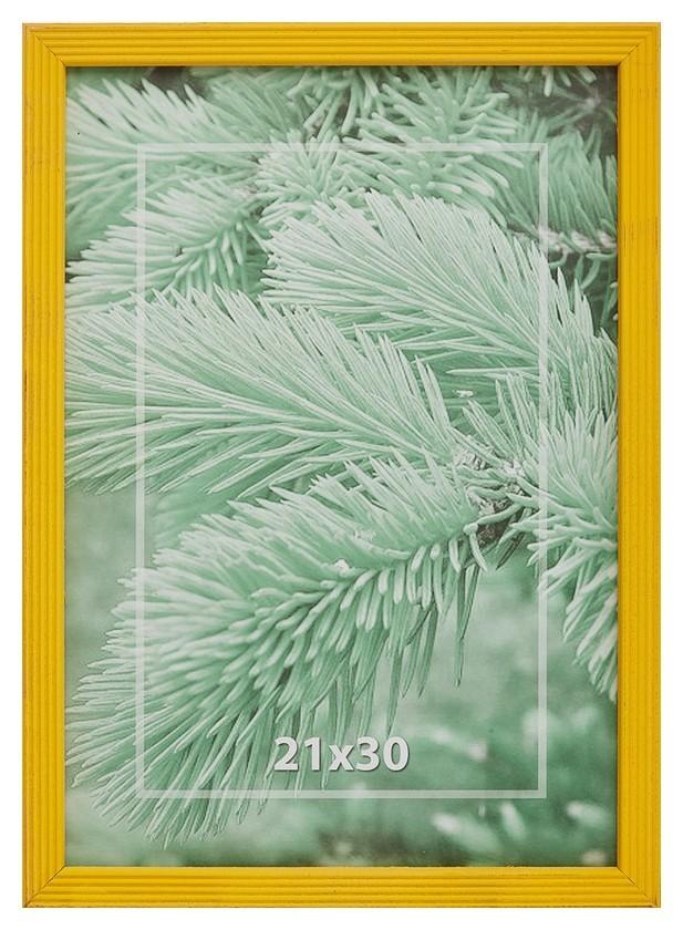 Рамка 21х30см деревянная, профиль №2, цвет ?ярко-желтый?  NNB
