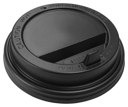 Крышка для стакана D=90мм с клапаном, черная, комус 100шт/уп  Комус