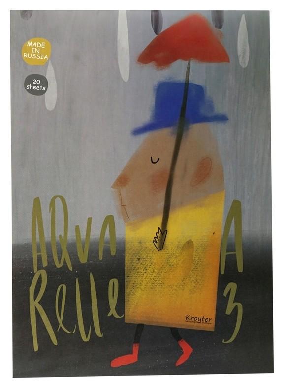 Альбом для рисов.акварелью Kroyter 20л а3,склейка,тв.подл,бл.160гдрузья 00021  Kroyter
